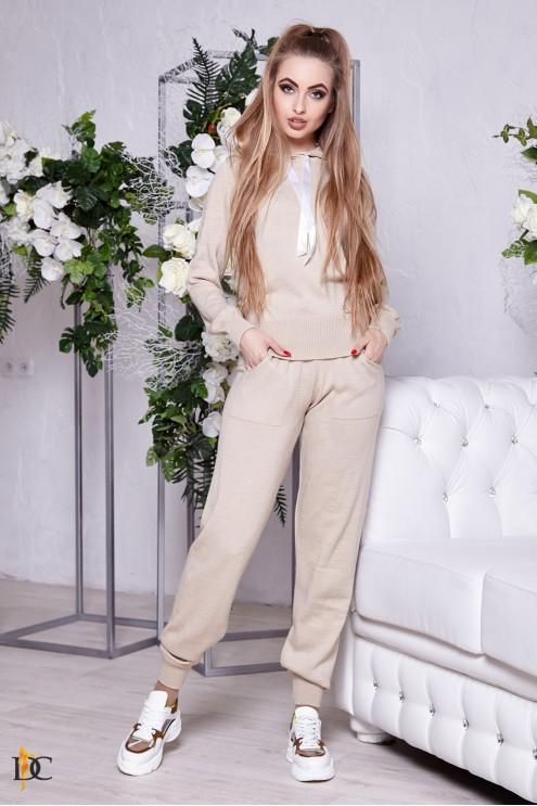 шерстяной вязаный костюм с капюшоном купить оптом в украине цена
