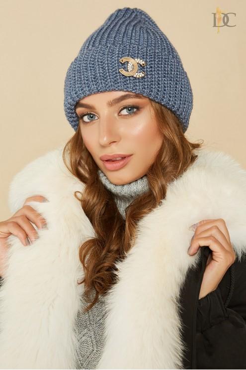 лаконичная вязаная шапка купить оптом в украине цена 225 грн