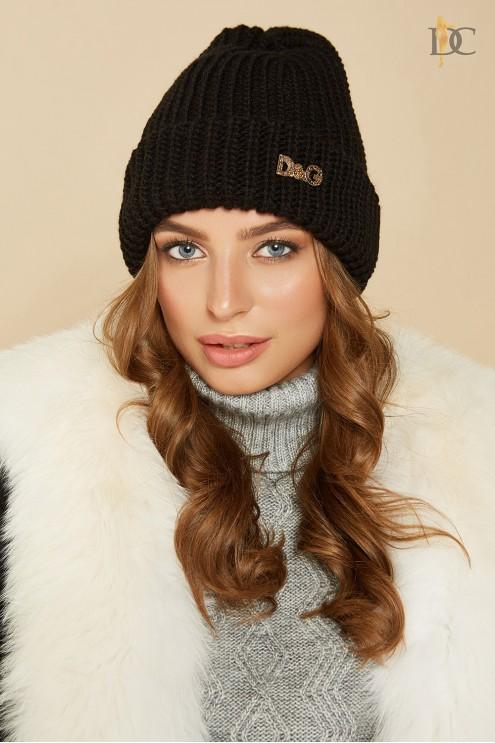 черная вязаная шапка купить оптом в украине цена 225 грн модель 66