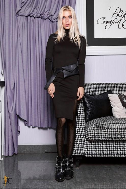 d1b169b5ecb Трикотажное платье с кожаными вставками  купить оптом в Украине ...