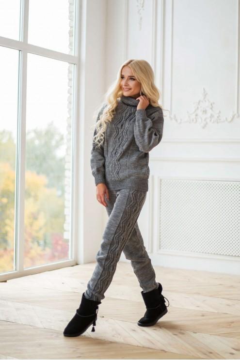 роскошный теплый вязаный костюм купить оптом в украине цена 1660